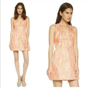 alice + olivia Pacey V Neck Lantern Orange Dress